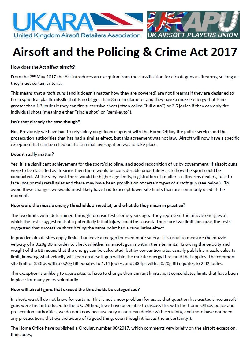 Joint UKARA and UKAPU statement on Airsofting and the Policing and Crime Act 2017